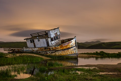Shipwreck - Explore 2016 Apr 26 (Sasakthi) Tags: orange green water grass clouds reflections boat warm ship glow shipwreck fantasy beached pointreyes