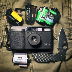 EDC Ricoh GR1v film camera + Spyderco Chaparral (Rob McKay Photography) Tags: camera film analog fuji kodak knife blade knives pocket edc ricoh camerabag everydaycarry gr1v chaparral spyderco cameraporn