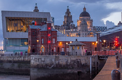The Liver Buildings, Port of Liverpool building and the Museum of Liverpool (SiKenyonImages) Tags: blue museum clouds liverpool lights waterfront bluehour pierhead albertdock portofliverpool