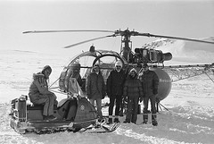 Empire Strikes Back helicopter crew in Finse, Norway (Tom Simpson) Tags: winter snow cold film norway vintage movie starwars helicopter behindthescenes snowmobile hoth finse theempirestrikesback