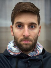 January 2016 (tomtomklub) Tags: blue brown white house selfportrait man face rain vertical scarf hair beard outside outdoors daylight eyes pattern cloudy young overcast front jacket ambient hood thin facial 30s selfie