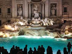 Fontana di Trevi (Paolo Polesana) Tags: blue people sculpture rome roma art water fountain colors architecture contrast trevi di baroque fontana