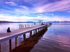 Lake Tahoe Light (moonjazz) Tags: california travel blue winter sunset sky nature photography evening concentration twilight dock alone looking view air horizon laketahoe fresh clean clear holy harmony serenity vista environment meditation sierranevada contemplation senic