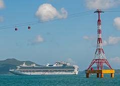 Sapphire Princess anchored in Nha Trang Bay - Vietnam (bvi4092) Tags: travel blue sea sky water photoshop boat nikon asia harbour bluesky vietnam cruiseship cablecar tender sapphireprincess nhatrang princesscruise vinpearl nikonafsvr70300f4556gifed d300s