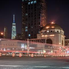 Canal Street (DSC03257) (Michael.Lee.Pics.NYC) Tags: longexposure newyork architecture night square chinatown cityscape sony worldtradecenter bowery manhattanbridge lighttrails exit hsbc canalstreet traffictrails onewtc a7rm2 voigtlandernoktonclassicsc35mm14