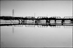 Bridge (greenschist) Tags: bridge arizona usa lake film analog blackwhite ilforddelta400 tempe tempetownlake carlzeisssonnar50mmf15 zeissikoncontaxiiia