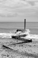 Turning Tide (payne1703) Tags: uk sea blackandwhite seascape lines landscape sand patterns norfolk tones groin