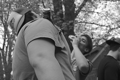 Shotgun (Mike Giannotti) Tags: friends portrait people blackandwhite white black men boys beer outside outdoors angle candid wide drinking guys portraiture daytime shotgun whiteandblack