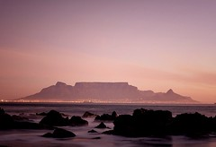 Table Mountain. Cape Town, South Africa (wieseowen) Tags: ocean travel pink light sunset red beach nature southafrica scenery like capetown slowshutter tablemountain