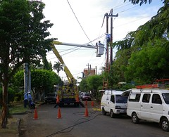Electrical Construction, Managua IMGP2794 (CanadaGood) Tags: blue people orange white color colour tree green truck person construction afternoon crane safety powerlines vehicle streetphoto nicaragua ladder van managua 2016 canadagood thisdecade