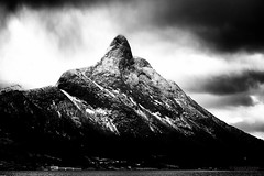 Into the clouds (Usstan) Tags: winter sea sky blackandwhite bw mountain mountains cold water monochrome rain norway clouds dark lens landscape ir norge nikon day seasons outdoor no infrared d750 fjord mountainside nikkor 70300mm westcoast locations sunnmre mreogromsdal rsta mountainpeak liadalsnipa liadal