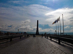 Obelisck (pantorrazvan) Tags: old travel sky mountains monument clouds landscape spring citadel romania albaiulia cetate