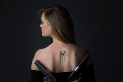 Spy da Spider (GreyStump) Tags: portrait people woman leather tattoo lady spider model spiderman smith guns spiderwoman greystump copyrightcolinpilliner shanieleesmith shanielee