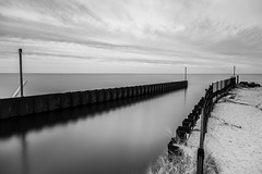 Entrance (randyr photography) Tags: longexposure blackandwhite monochrome lakemichigan muskegon lakeharbor puremichigan leebigstopper lovemuskegon