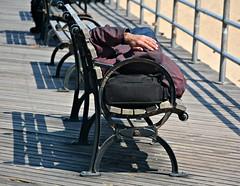 AFTERNOON SNOOZE ON CONEY ISLAND BOARDWALK (Joe Desiderio) Tags: coneyisland snooze boardwalk benches peoplewatching