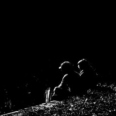 """""""whispered in the sound of silence"""" (old&timer) Tags: blackandwhite pier couple riverside highkey song4u"""