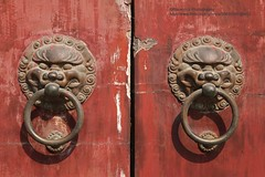 Shanghai, Longhua temple, gate lions (blauepics) Tags: china door city building architecture handle temple gate shanghai stadt lions architektur tor gebude tempel lwen longhua trgriff schanghai