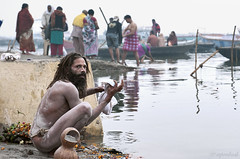 The bank of Ganges (me suprakash) Tags: india saint varanasi sadhu benaras kasi uttarpradesh varanasighats nikond700 nikon2470mmf28 ghatsofvaranasi holycityofvaranasi lifeintheghatsofvaranasi intheghatsofvaranasi