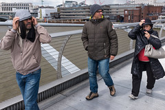 Hold on to your hat (Gary Kinsman) Tags: london thames river wind candid streetphotography windy streetlife millenniumbridge hold bankside se1 cityoflondon 2016 fujifilmx100t fujix100t