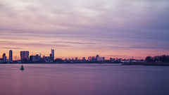 Sunset over Rotterdam (R. Engelsman) Tags: city longexposure sunset sky cloud skyline zonsondergang rotterdam nd