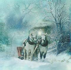 Dashing through the snow. (BirgittaSjostedt) Tags: winter horse snow tree art texture collage wow paint outdoor unique cottage scene creation serene ie artdigital trolled magicunicornverybest netartii birgittasjostedt
