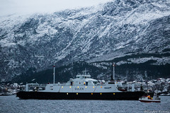 Gulen (sindre97) Tags: light sea bw mountain snow norway ferry boat norge fishing ship vessel tugboat fjord fjell lesund ferge gulen toug hessafjorden