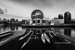 Vancouver Science World in black and white (PhotoDG) Tags: world building vancouver downtown cityscape britishcolumbia wideangle science exhibition falsecreek scienceworld telus metrovancouver telusworldofscience worldofscience