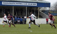 Joel Kasubandi finds himself in behind the Maybole defence (Stevie Doogan) Tags: park west scotland scottish first super juniors division league holm clydebank bole maybole bankies mcbookiecom