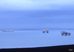 Mixed Activity In Scapa Flow (orquil) Tags: uk greatbritain winter panorama seascape islands interesting mixed orkney january illumination calm gas unusual activity transfer shelter accommodation cloudscape tanker lng rigs regalia semisubmersible alongside anchored sheltered longterm scapaflow excelerate arcticprincess prosafe shiptoship refrigeratedcargoship southisles safeboreas
