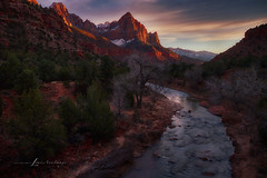 Virgin River - Last Light on the Watchman (LouisAnnImage - The Photography of Howard Brown) Tags: trees sunset cloud mountain mountains tree water rock clouds sunrise river rocks rocky virgin zion zionnationalpark hdr watchman cloudsstormssunsetssunrises