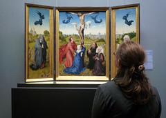 Van der Weyden, Crucifixion Triptych, detail with Beth viewing