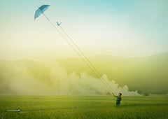 """won't let you go"" (jimrey blacksmith) Tags: kite art composite umbrella photomanipulation photoshop butterfly landscape labrador outdoor smoke philippines digitalart ricefields pangasinan"