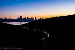 Mind the Gap (Culinary Fool) Tags: seattle winter sunset usa silhouette skyline puddle boat washington pastel hill january fremont wa spaceneedle lakeunion gasworkspark 2016 culinaryfool 23mm brendajpederson