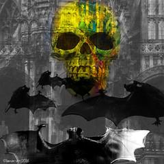 Calling them home (Lemon~art) Tags: colour architecture night skull gothic manipulation photomontage bats selective gpthis