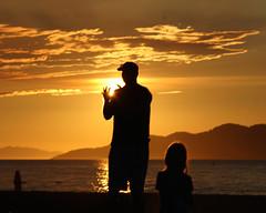 Super Sun Day (Dex Horton Photography) Tags: family boy sunset summer orange sun man ski girl silhouette vancouver clouds children football bestof dad day child bc britishcolumbia father super catch superbowl bunnybeach dexhorton
