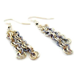 Silver and grey micromaille 3 strand earrings (Bramalfie Beads Etc.) Tags: uk silver grey jump mail jewelry womens ring jewellery chain bracelet accessories earrings dangle seller chainmail maille chainmaille bramalfiebeadsetc