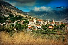 Village in Mani (free3yourmind) Tags: summer tower church clouds greek village view scenic mani greece region peloponnese