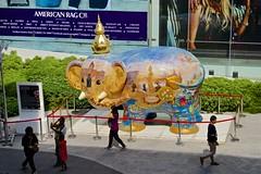 Elephant statue from The Journey of 999 Elephants in front of Central World shopping center in Bangkok, Thailand (UweBKK ( 77 on )) Tags: world road sculpture art statue project shopping thailand asia bangkok sony central center journey elephants southeast alpha dslr 77 slt 999 sukhumvit journeyof999elephants