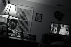You ever have the feeling you're being watched?.... (AdrenoJunkie) Tags: blackandwhite bw halloween silhouette canon dark 50mm noir creepy killer horror bandw filmnoir dutchangle 6d michaelmyers strobist
