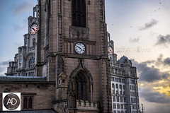 The birds faces taken in the Nick of time (alun.disley@ntlworld.com) Tags: uk sunset church weather liverpool buildings clocks royalliverbuilding churchofourladyandsaintnicholas