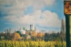 Industrie... (hobbit68) Tags: old sunset sky clouds canon rooftops outdoor alt frankfurt main himmel wolken fluss sonne dach bltter industrie baum gebude sonnenschein