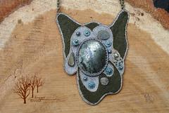 The Wanderer pendant_2 (~Gilven~) Tags: green beads handmade linen embroidery silk jewelry bead pearl swarovski beading pendant pyrite chalcopyrite beadembroidery japanesebeads foggyforest swarovskipearl