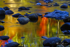 Swift River Reflections (Beverley Lu) Tags: blue autumn red color colour fall film water reflections season landscape scenery rocks colorful warm scenic newhampshire slide whitemountains serene colourful swiftriver
