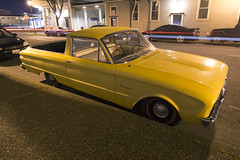 1961 Ford Ranchero (Curtis Gregory Perry) Tags: california longexposure ford car yellow night truck nikon automobile pickup eureka 1961 ranchero d800e