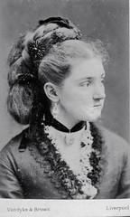 Pretty Victorian (vintage ladies) Tags: portrait people blackandwhite female liverpool vintage pretty victorian cdv earing victorianlady cabinetportrait eoshe victorianwoman