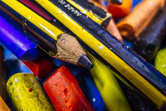 Happiness is a mix of colours   ///   La felicidad es una mezcla de colores (Walimai.photo) Tags: blue school red black yellow azul pencil lumix rojo paint negro panasonic amarillo colegio escuela pintura lápiz lx5