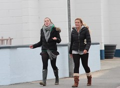 Two Blondes (fannyfadams) Tags: uk female women couple boots pair blonde wellies wellingtons anglesey northwales holyhead trearddurbay
