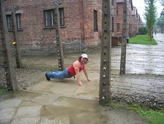 We reember victums in nazi camps by doing push ups and pausing (pushupman) Tags: doug nazis poland krakow we ups push tribute them camps pruden germans aushwitz victums reemember