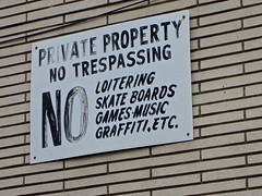 Private Property, Bethlehem, PA (Robby Virus) Tags: music sign wall private graffiti boards pennsylvania no property games skate signage bethlehem loitering trespassing