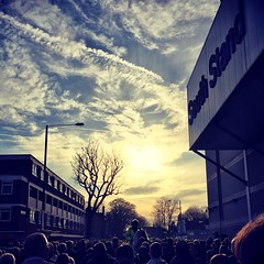 South Stand (peterphotographic) Tags: city uk sunset england horse tree london apple silhouette sport square spurs football dusk crowd police match iphone northlondon tottenhamhotspur whitehartlane policehorse 6s